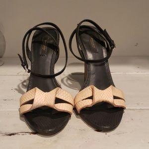 Zara strappy snake embossed heels
